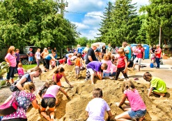 Children were busy digging for buried treasure during the coin dig Sunday.
