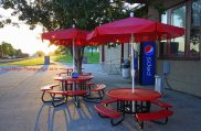 ice cream stand of the Calmar bike trail great place to stop as sun begins to sesft