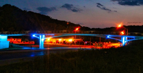Decorah Bike Bridge at night.