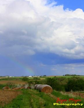 Rainbow on parents farm by Calmar- Ruth Elsbernd and the late Linus Elsbernd looking toward Calmar